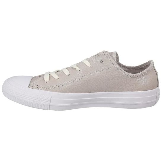 c6589677b2614 Baskets basses - CONVERSE CHUCK TAYLOR ALL STAR OX LEATHER Argent - Achat    Vente basket - Cdiscount