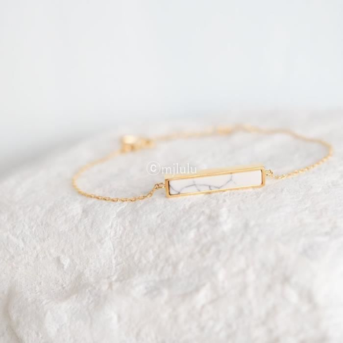 Womens Dainty White Simulated Howlite Stone Bar Delicate Gold Plated Chain Bracelet FYIK4