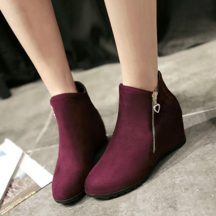 2017 femmes Bottes Fringe Boucle ronde Femmes Flock Toe Driving Chaussures de mode Chaussures Femme Automne Hiver,noir,34