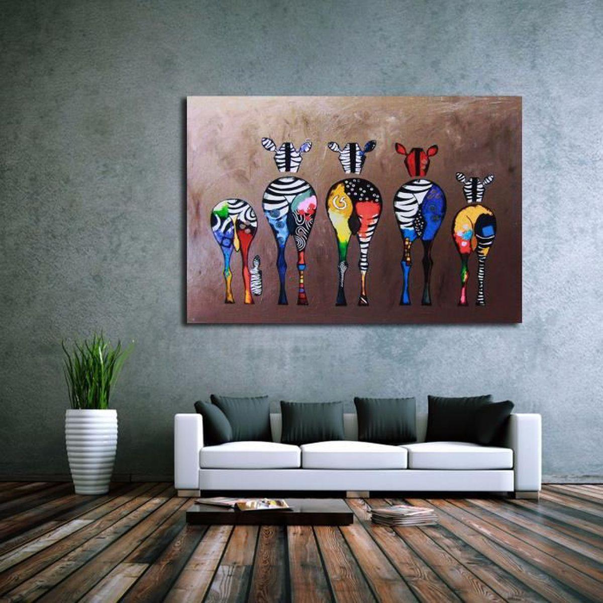 tableau peinture l 39 huile sur toile z bre painting abstraite moderne d cor achat vente. Black Bedroom Furniture Sets. Home Design Ideas