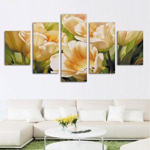 TABLEAU - TOILE 5 pieces Imprimer Belle Fleur Toile Peinte Mur Art