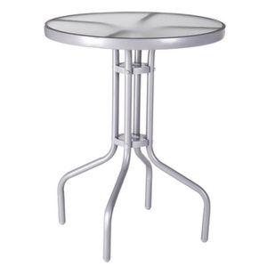 TABLE BASSE Table de jardin ronde 60cm en verre et fer gris TE