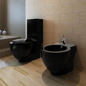CUVETTE WC SEULE Cuvette + bidet en céramique (noir) Maja+