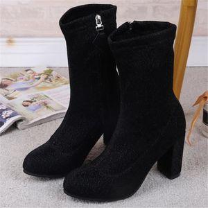 Femme Bottes Talons Nouvelle mode Meilleure QualitéConfortable Classique Bottine Rétro Léger Femmes Chaussure Plus Taille 35-39 2rha0ARLWA