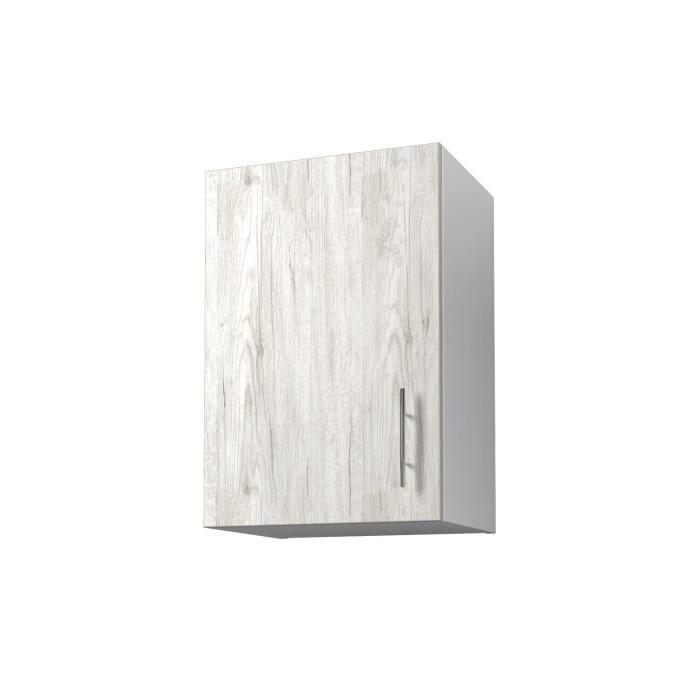 Panneaux de particules mélaminés - Décor chêne Sanremo et blanc - L 40 x P 31 x H 58 cm - 1 porte verticaleELEMENTS SEPARES HAUT