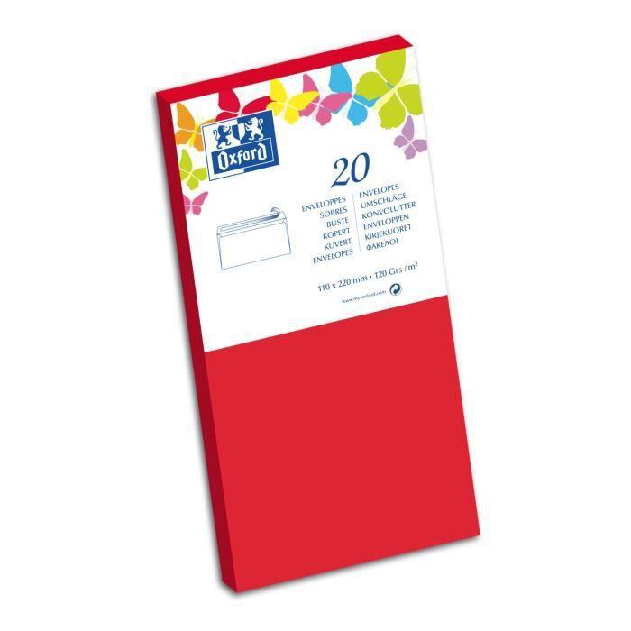 OXFORD 20 Enveloppes auto-adhésives - 120g - 22 cm x 11 cm x 1,5 cm - Rouge