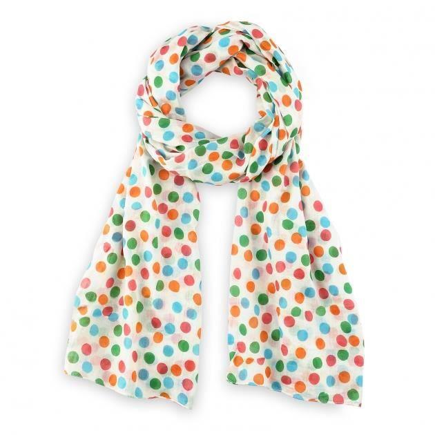 Chèche imprimé coton Pois multicolores Blanc - Achat   Vente echarpe ... 934563c3d61