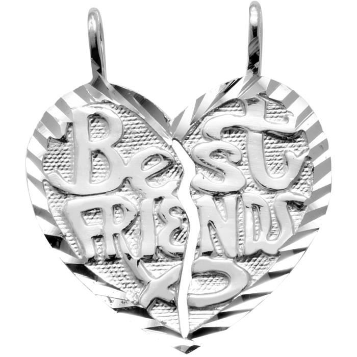 Pendentif 10 ct Or Blanc 471/1000 «meilleurs amis» Coeur-