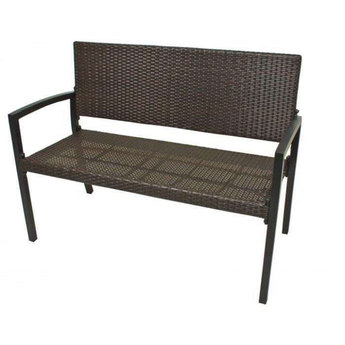 banc de jardin en r sine tress e marron achat vente banc d 39 ext rieur banc de jardin en. Black Bedroom Furniture Sets. Home Design Ideas