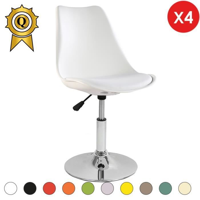 4 X Chaise Inspiration Eames Tulipe Pivotante Reglable Inox Chrome Blanc MobistylR