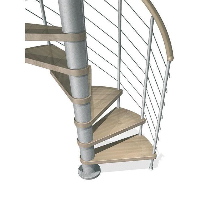 Escalier En Colimacon Kloe De Chez Fontanot Diametre 140cm Hauteur 274 306cm 13 Marches Gris Claire