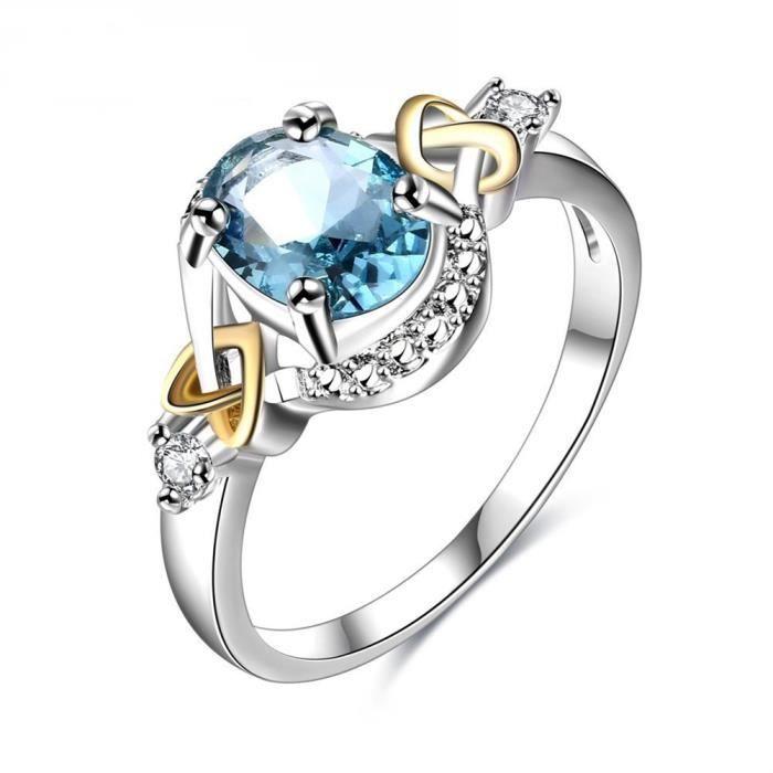 Populaire Luxe bleu rond zircon plaqué de cuivre femme bague de mariage  XE56