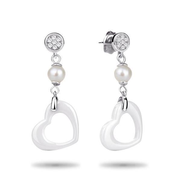 Idée Cadeau Noël - Boucles doreilles Coeur en Céramique Blanche, Argent et Cristaux Cubic Zirconia - Blue Pearls