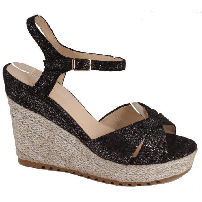 Sandale compensée noir