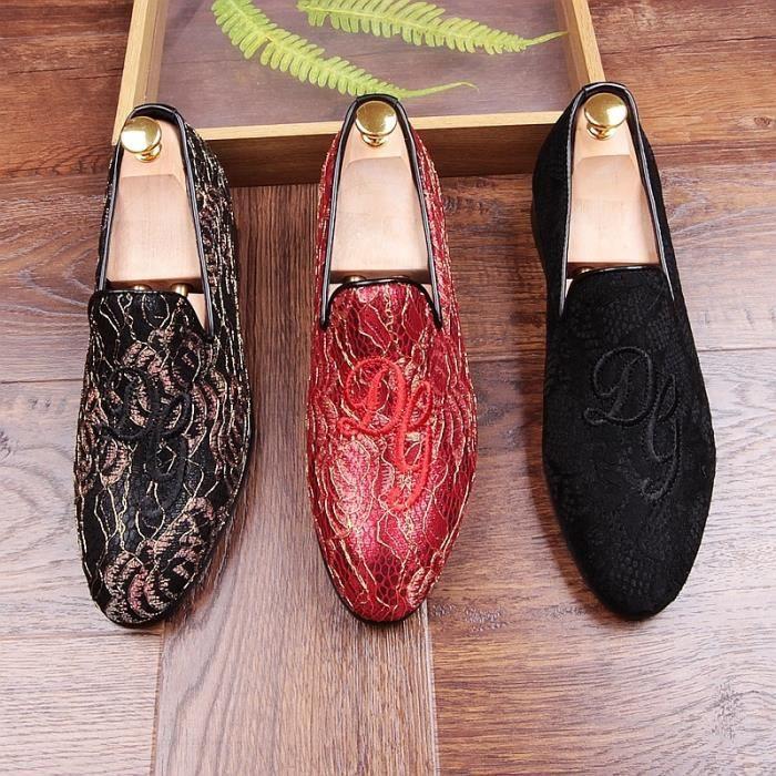 De haute qualité main broderie design hommes de luxe mariage Night Club Nubuck vache Chaussures en cuir suédé été Mocassins
