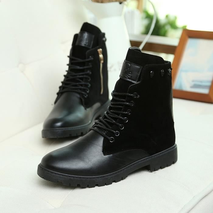 Bottes pour Hommenoir 39 Mode New Chaussures Chaussures montantes Chaussures Casual Martin Skull Rivets Chaussures_37624