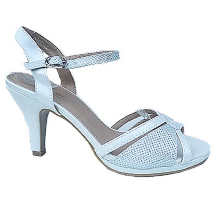 3b2e69ddd3ce42 ... Talon Bout Ouvert Sandale Bal de Promo Soirée W008 BLANC. ESCARPIN  Fashionfolie888 - Femme Escarpins à Strass Mariage