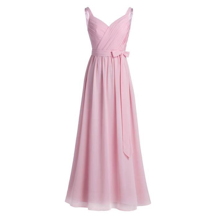 181409cc0af Robe de cérémonie longue Femme - Soirée mariage fête sans manches plissées  col en V mousseline demoiselle d honneur