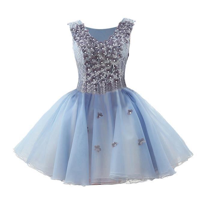 b880411b2d4 Robe Bleu Courte Robe de soirée Mariage Bal Fête Anniversaire Robe Chiffon  avec des Fleurs Lace Pour Femme WK810-34