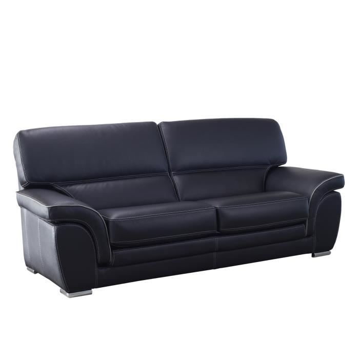 Canapé fixe en cuir avec dossier et coussins d assise déhoussables