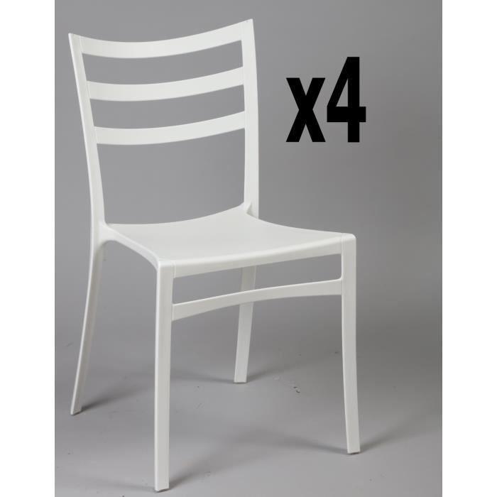 CHAISE Lot de 4 chaises en polypropylène de couleur blanc