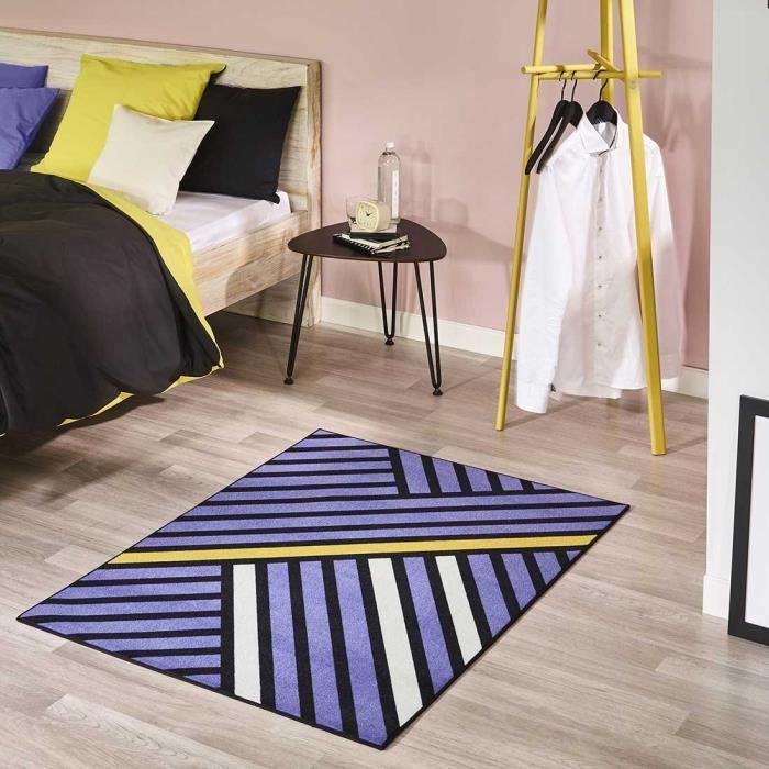 Tapis violet noir blanc - Achat / Vente pas cher