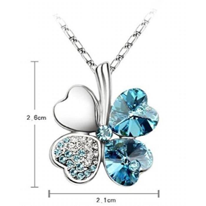 Womens 18k White Gold Plated Ocean Blue Austrian Crystal Clover Leaf Pendant ForYA8XM