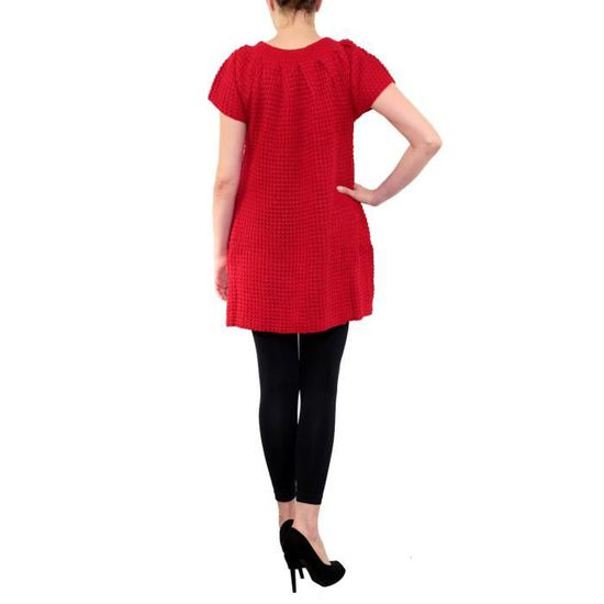1b70a6bc996 Robe Tricot Femme Manches Courtes Laine Pull TU Rouge Rouge - Achat   Vente  robe 3701102005036 - Cdiscount