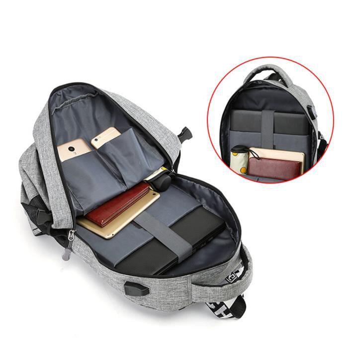 14 Sac à Dos pour Ordinateur Portable avec Port de Chargement USB Imperméable Homme Sac PC Polyester d'étudiant - Gris clair