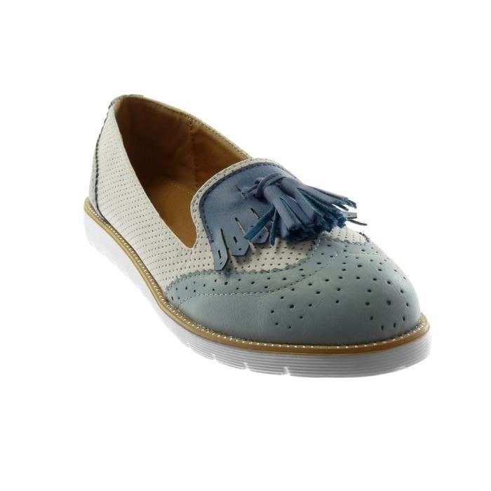 Angkorly - Chaussure Mode Mocassin slip-on semelle basket femme frange pom-pom perforée Talon plat 2.5 CM - Bleu - 18-17 T 39