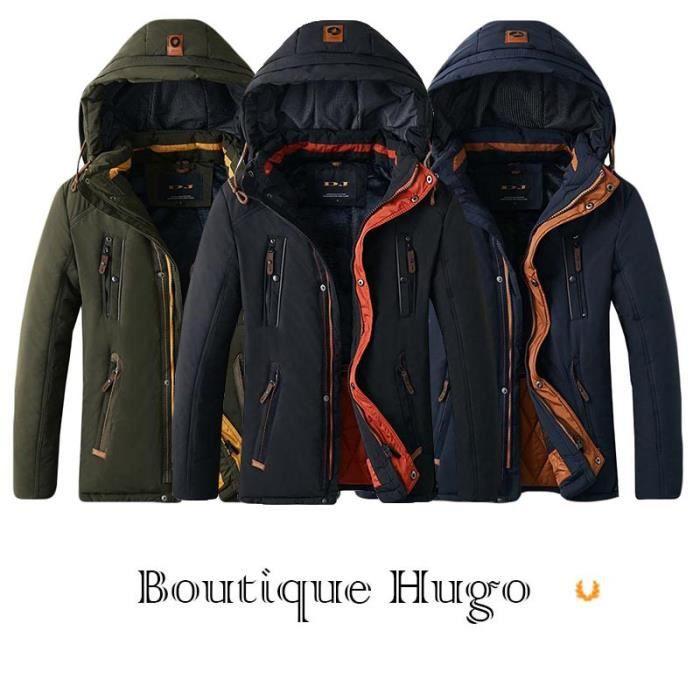 Hugo Démontable À Doublee Chaud Polaire Blouson Capuche Homme Veste Boutique fashion Epais Hiver De TPYWfddqRO