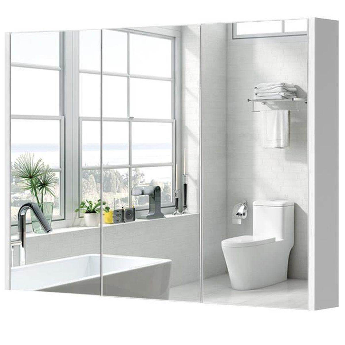 armoire de toilette salle de bain avec miroir achat. Black Bedroom Furniture Sets. Home Design Ideas