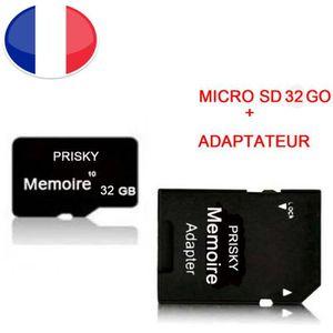 CARTE MÉMOIRE Carte mémoire Micro SD 32 Go classe 10 + adaptateu