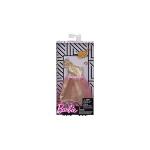ACCESSOIRE POUPÉE Habit Barbie - Robe De Bal Or Et Rose Avec Sac A M