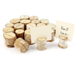 MARQUE-PLACE  20pcs stand en bois de bouleau support photo mémo