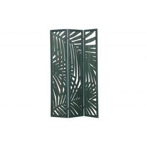 PARAVENT Paravent en bois de Paulownia et MDF coloris vert