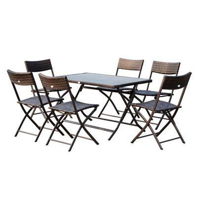 Ensemble salon de jardin 6 personnes grande table rectangulaire ...