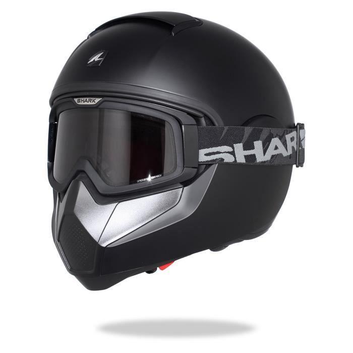Casque moto intégral noir mat - Double écran anti-buée et anti-rayure - Système de démontage rapide du masque.CASQUE MOTO SCOOTER