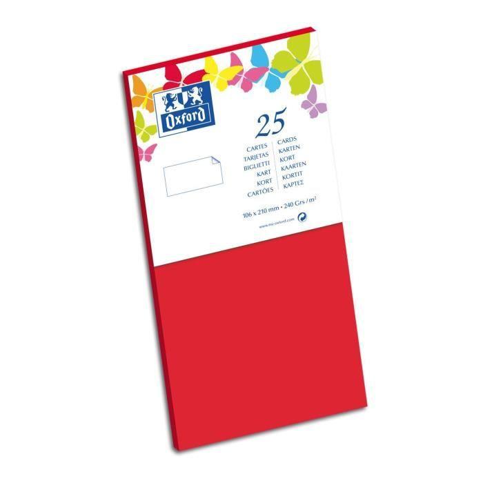 OXFORD 25 Cartes - 21 cm x 10,6 cm x 0,7 cm - 240g - Rouge
