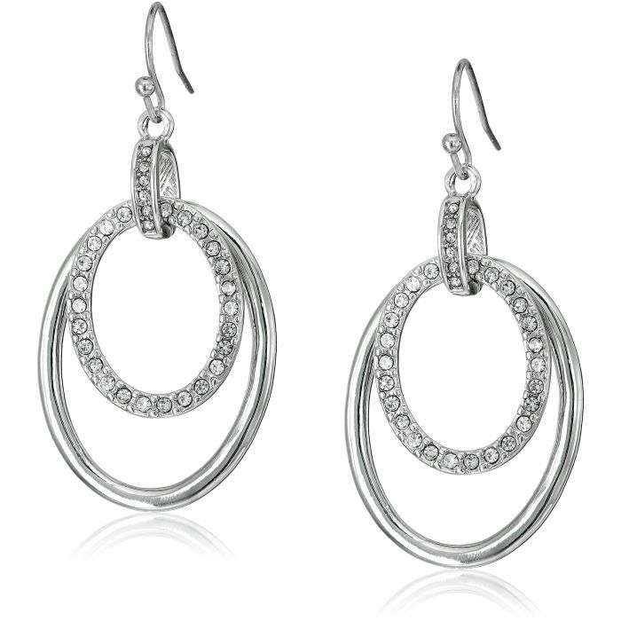 T Tahari Oval Pave Links On Wire Drop Earrings NRZNE