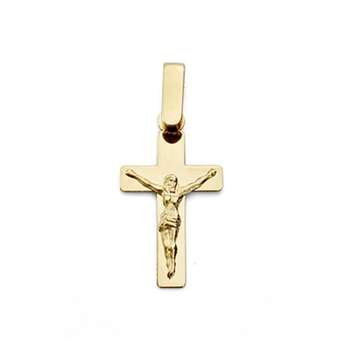 Croix pendentif 18k crucifix dor Christ 20mm plat. [7695]