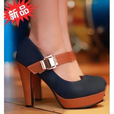 Chaussures blanches épaisses avec des talons hauts carrière chaussures basses chaussures, bleu 38