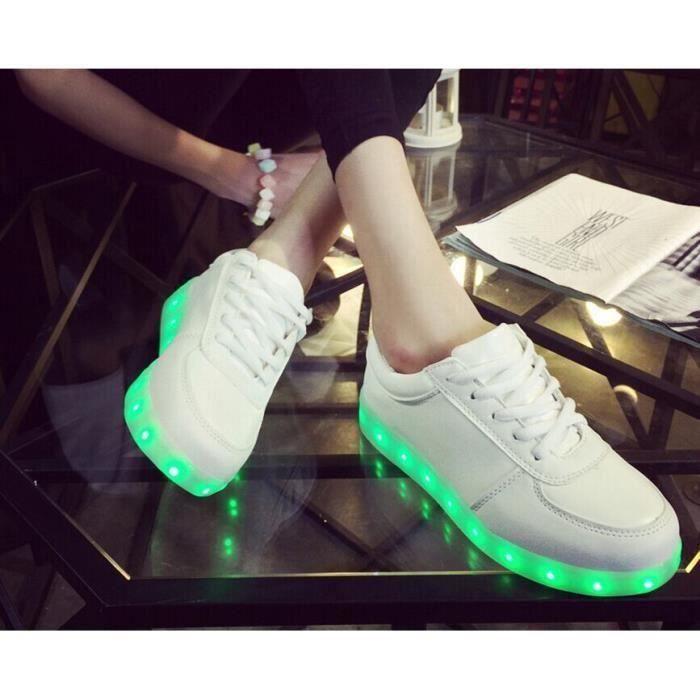 Kianii-Blanc 7 Couleur Unisexe Homme USB Charge LED Lumière Lumineux Clignotants Chaussures de Sports Baskets 7GTCek2