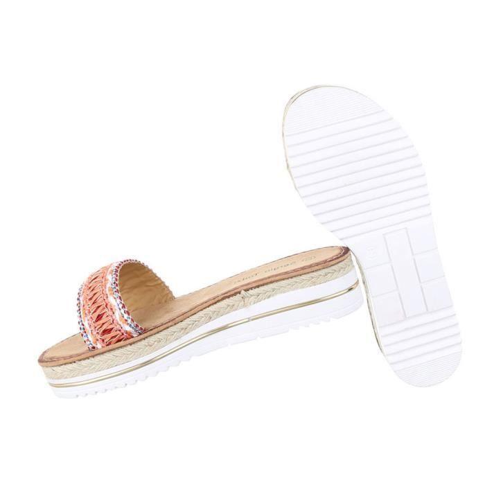 Femme sandales chaussures chaussures de plage chaussures d'été Pantoletten orange 44 6s5Hf1IvA