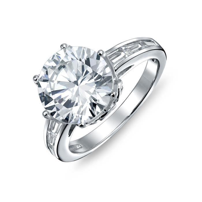 Bling Jewelry Couronne en argent CZ bague de fiançailles pierre côté Baguette