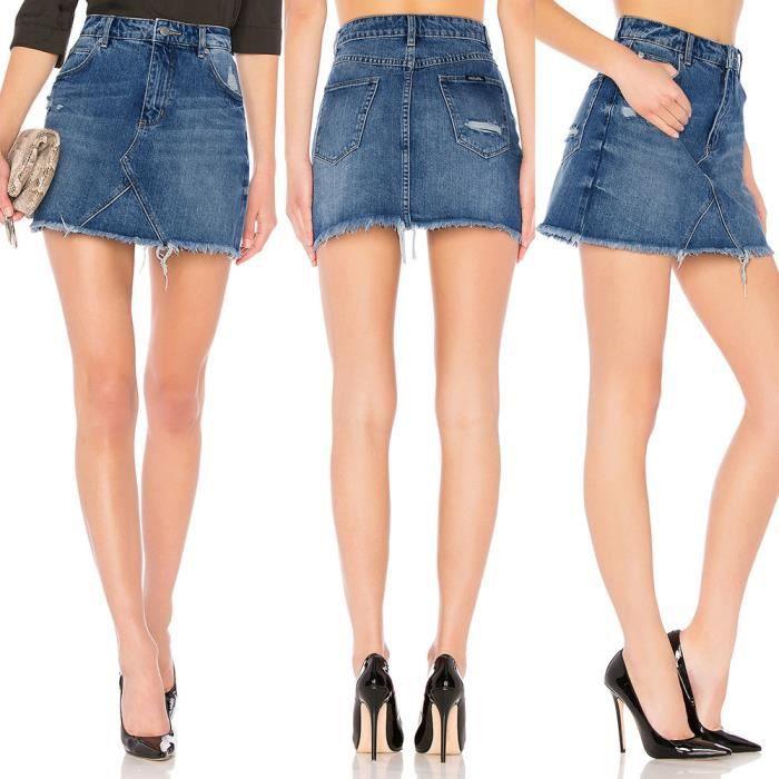 Femmes Bleu Denim Jeans Solide Casual Hole Été Bouton Mini Jupe courte    zf21 e5c34dc9a817