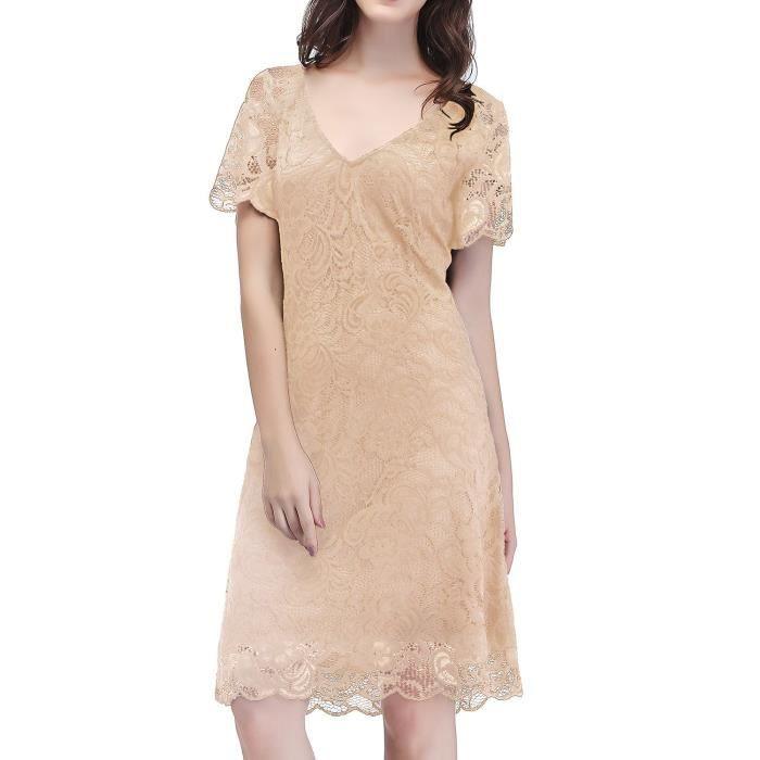 Robe en dentelle florale vintage de cocktail de femmes robe de demoiselle avec manches 2OMJCJ Taille-34