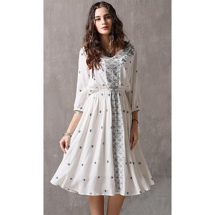 design de qualité 07d86 1ae00 Femmes blanc robe longue demi manches coton vintage bleu broderie nouvel  été automne 2018