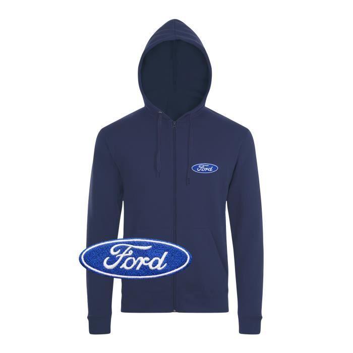 100% authentic 24ccc 46436 SWEATSHIRT Ford Sweat à Capuche Pull Zippé Logo Brodé Bleu Ma