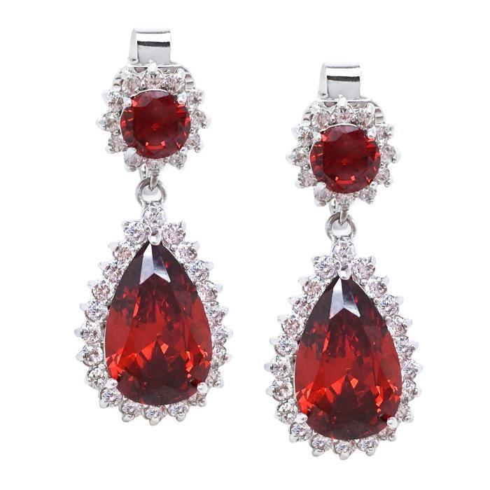 Womens Cz Clip On Earrings Dangle Teardrop Wedding Fashion 1.25 Inches WQPAW